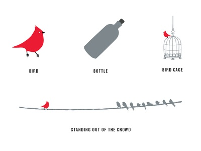 Bird and the Bottle Illustrations wire cage icons elements typography drawn flat grey red logo bottle bird