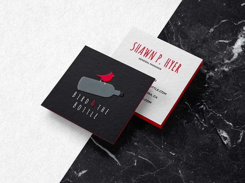 Bird and the Bottle Business Cards white black square card business drawn flat grey red logo bottle bird