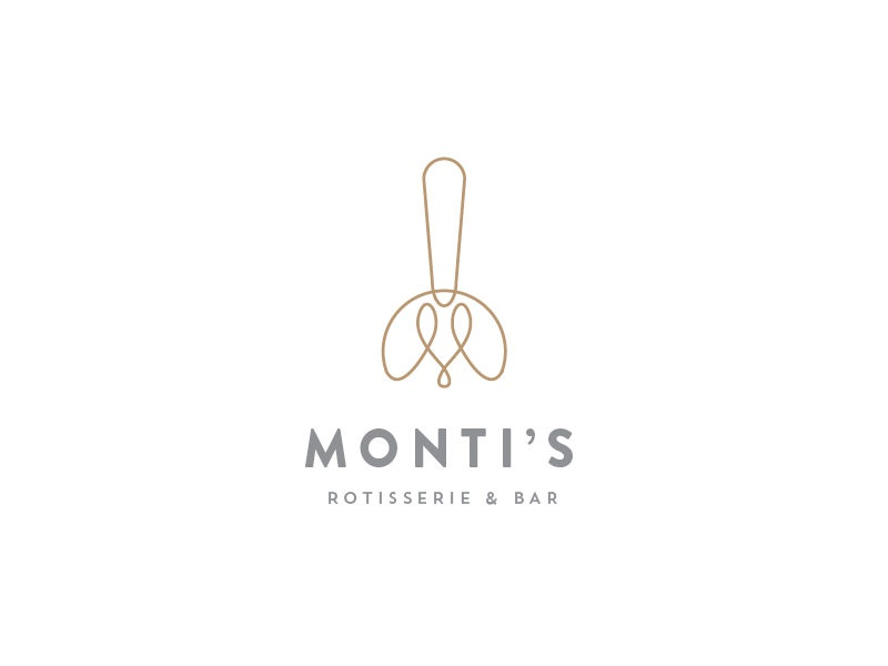 Monti's Rotisserie and Bar Logo Concept 1 line elegant bottle fork loop monogram m drinks bar rotisserie montis