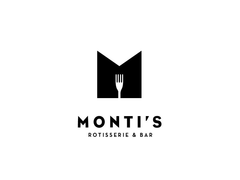 Monti's Rotisserie and Bar Logo Concept 2 logo fat thick bold fork loop monogram m drinks bar rotisserie montis