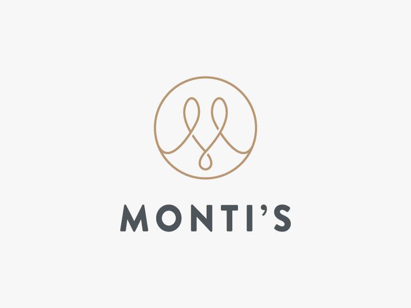 Monti's Rotisserie and Bar Logo logo single line elegant loop monogram m drinks bar rotisserie montis