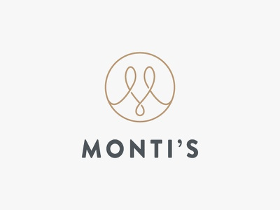 Monti's Rotisserie and Bar Logo logo single line elegant loop monogram m drinks bar rotisserie montis