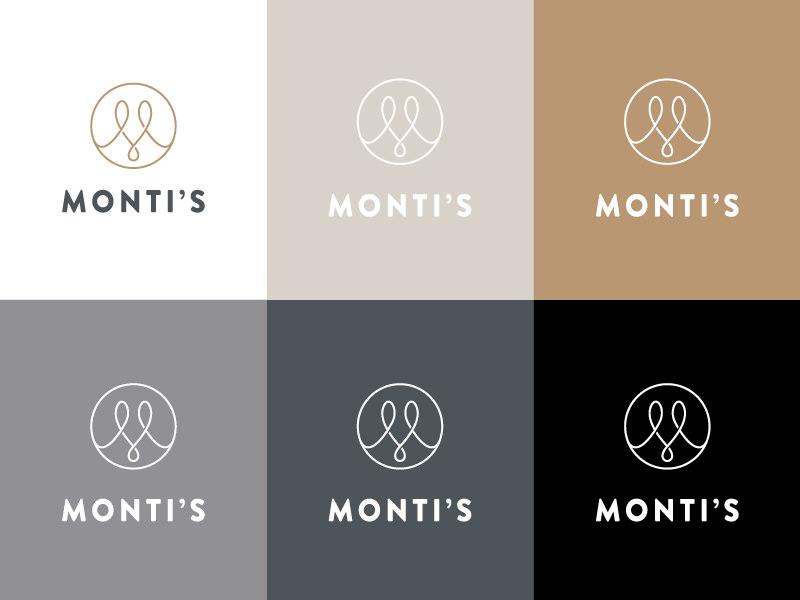 Monti's Colour Logo logo single line elegant loop monogram m drinks bar rotisserie montis