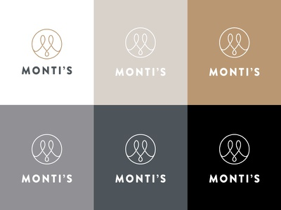 Monti's Colour Logo logo single line elegant loop monogram m drinks bar rotisserie montis