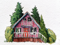 Watercolor and ink house #2