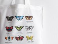 Watercolor butterflies printed bag