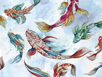 Koi Fish Watercolor Pattern Design