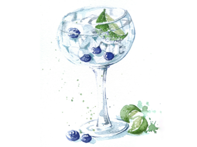 Watercolor Blueberry Drink