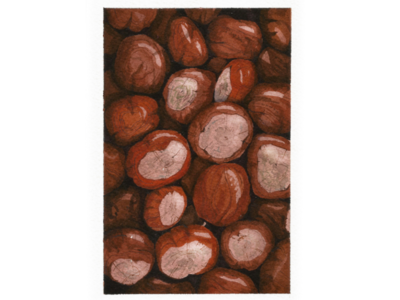 A pile of chestnuts, watercolor