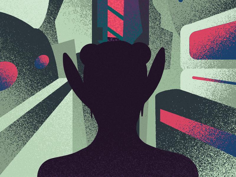 Space Tales posters grain gradient illustrator girl charachter vector illustration