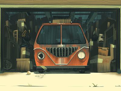 Auto Shots 2 cars broken down junk garage illustration ocs orlin culture shop retro vintage