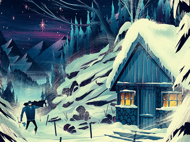 Adobe Inspire Magazine Cover ocs orlin culture shop adobe editorial illustration winter mountains cabin snow hiking christmas holiday