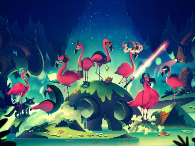 Toxic Flamingos video game games gamers illustration vintage retro orlin culture shop ocs