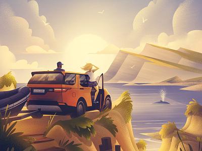 Land Rover: Beach Adventure campaign advertising automotive outdoors illustration vintage retro orlin culture shop ocs