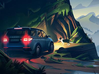 Land Rover: Mountain Adventure digital art exploration adventure cars automotive advertising mountains illustration vintage orlin culture shop