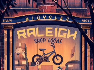 2014 Raleigh Holiday Poster raleigh bikes holiday ocs orlin culture shop vintage retro illustration