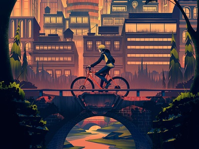 Raleigh Heritage Poster raleigh poster mountain bike city sunset outdoors ocs orlin culture shop