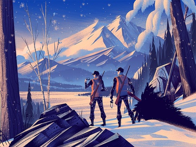 Field & Stream: First Hunt field and stream outdoors editorial illustration mountains winter family vintage retro ocs