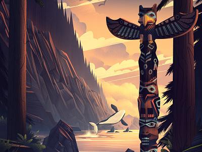 Wings Over Washington · The Forest outdoors nature totem pole coastline orca forest retro vintage ocs illustration poster washington