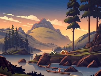 REI 4th of July retro vintage ocs illustration sunset mountains lake nature outdoors rei
