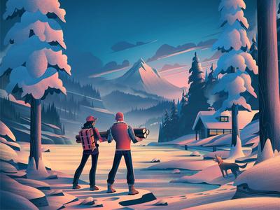 Danner ocs season holiday winter digital art product boots mountains illustration danner