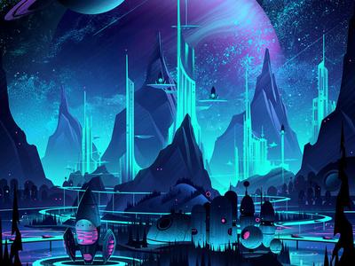 Space Park Board Game illustration retro adventure ocs keymaster board game space