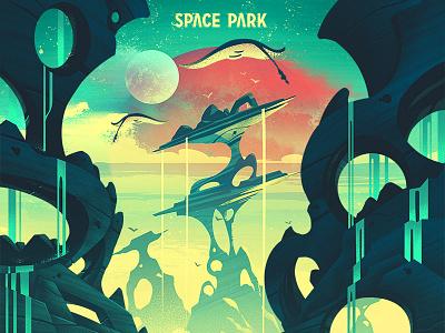 Space Park: Celestial Seas illustration retro adventure ocs keymaster board game space