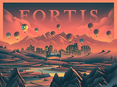 Fortis Construction city urban outdoors digital art ocs retro vintage illustration poster