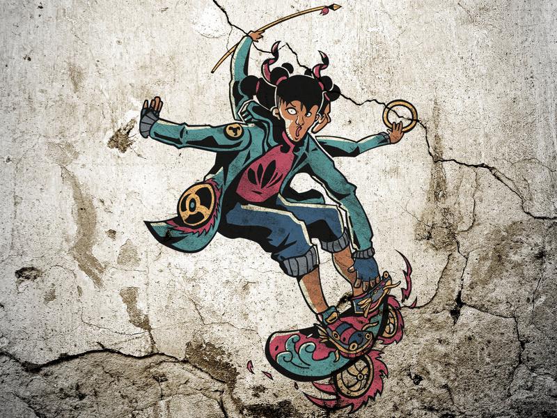 Ne Zha graffiti branding concept design graphic design illustraion character design