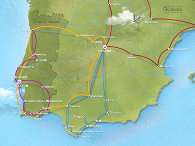Routes of Spain and Portugal