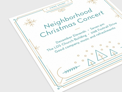 Christmas Concert Invitation Card vector holiday invitation typography type line art card print christmas