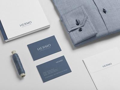 HERMO Shirt Manufacture / Rebrand / Stationery stationery packaging lettering fashion shirt rebrand branding logotype logo