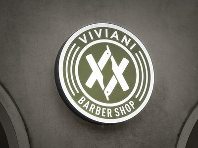 Sign / Viviani Barber Shop hipster blade tatoo modern sign hairdressing coiffeur hairstylist hairdresser branding barber shop logo design