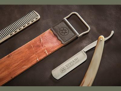 Viviani Barber Shop stationery blade hipster modern sign hairdressing coiffeur hairstylist hairdresser branding barber shop logo design