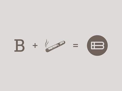 Logo Concept Bodeguita Cigar Club project construction b monogram hidden message tobacco cigar symbol logo design branding