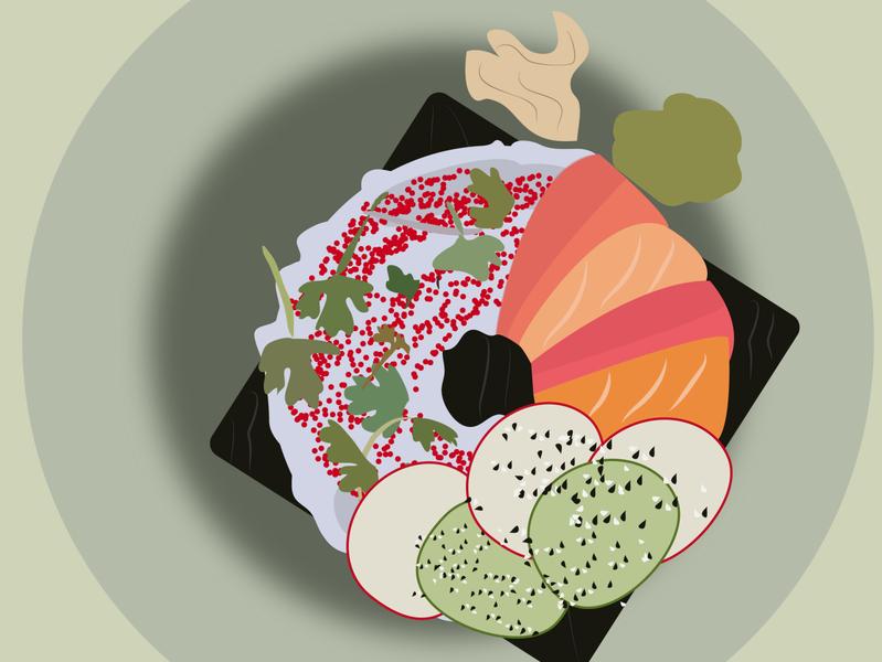 donuts about sushi minimal vector flat illustration design