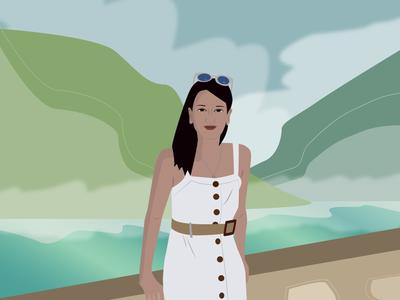 croatian godess flat minimal vector illustration design