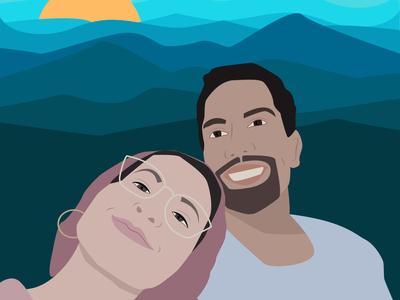 mountain love minimal flat vector illustration design