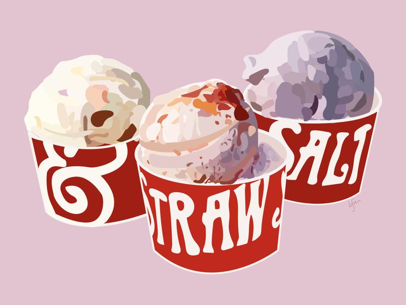 melting for you ice cream icecream minimal flat vector illustration design