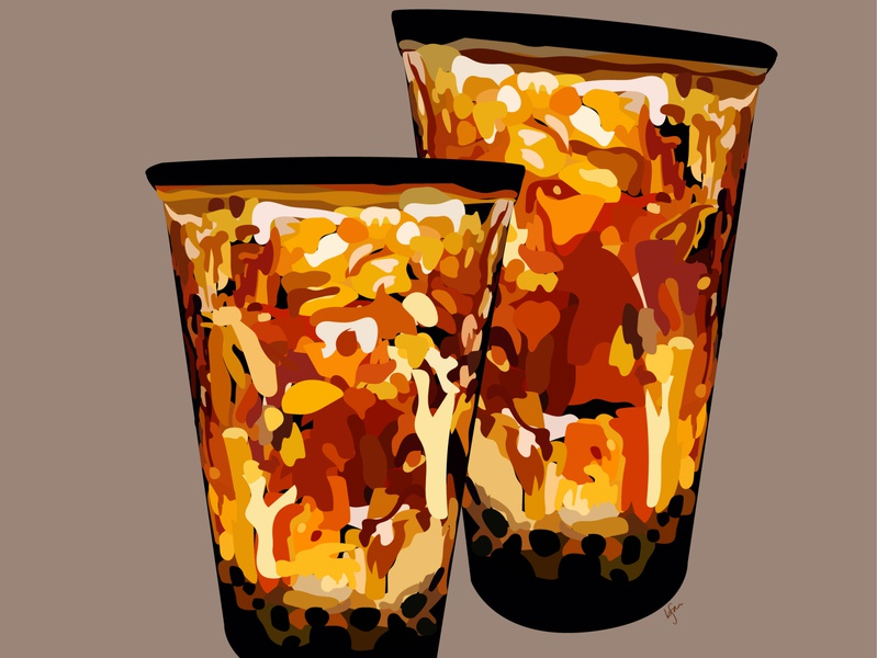beau-tea-ful boba tea boba minimal flat vector illustration design