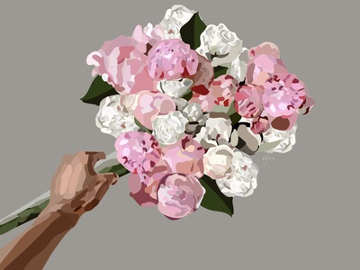 rosé all day flower roses rose minimal flat vector illustration design