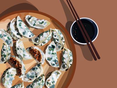 dumplings food minimal flat vector illustration design