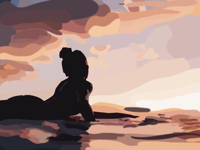 surfers sunset surf flat minimal vector illustration design