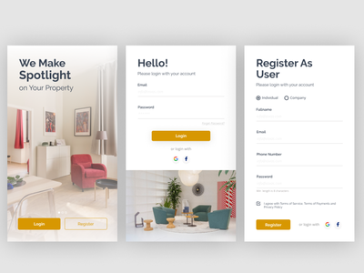 PROPERTY property app flat design register page register register form login screen login form login page landingpage mobile property app mobile uiux ux ui