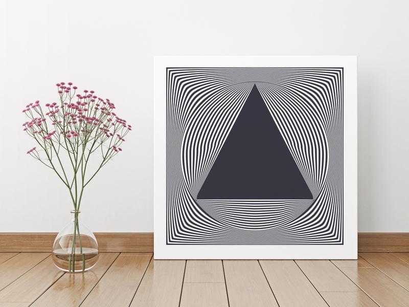 Futuristic op art form. Triangle 56 minimal line graphic futuristic frame form flat fashion fantasy energy dynamic design cover concept circle bright artwork art 3d