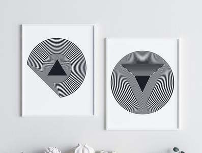 Illusion Print Art, Geometric Wall Print,, Interior Prints Wall, abstract geometric shape abstract elements gradient shapes geometric shapes