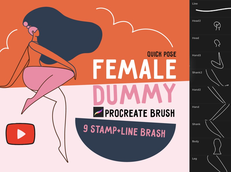 """Procreate brush """"Female dummy"""" line art draw draw people shapes character art drawing"""