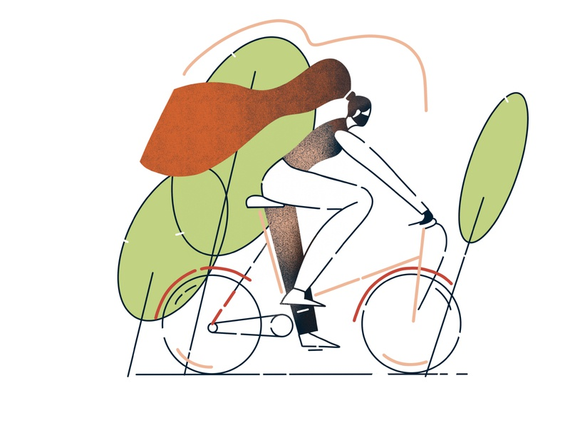 Girl on a bike transport summer sport ride person people masked lifestyle leisure illustration healthy happy girl fun cyclist cycle cartoon bike bicycle activity