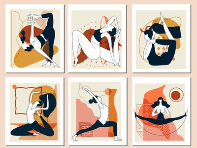 Content. Yoga. Graphic KIT girl pose yoga mat hatha yoga yoga pose graphics abstract