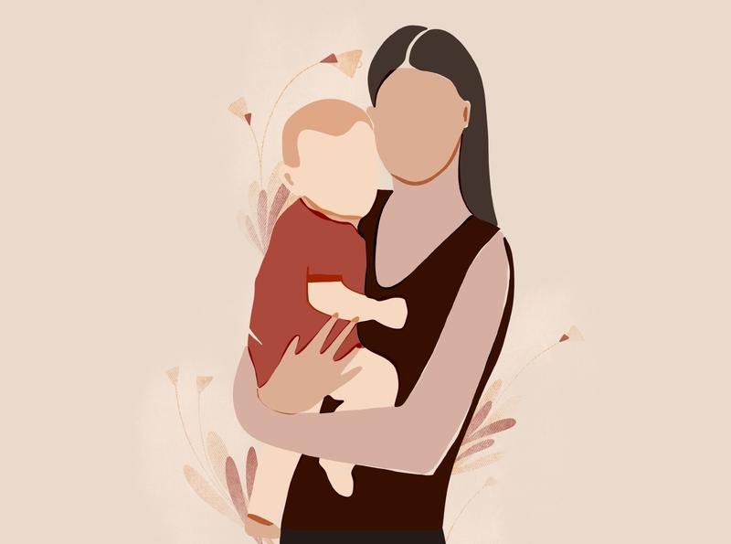 Mom and the baby. Flat-cut illustration. baby modern procreate cute flat mom illustration
